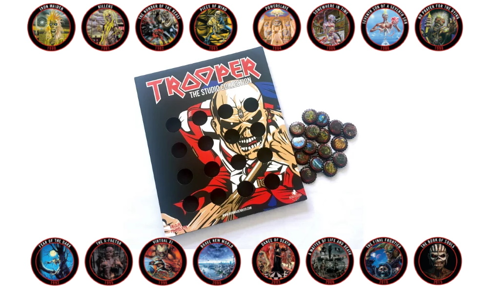 Trooper Beer Bottle Caps celebrating Iron Maiden's albums